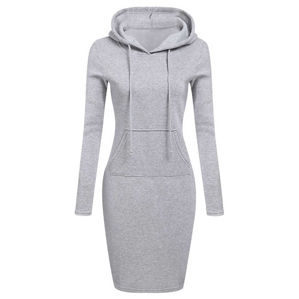 Autumn Winter Casual Dress Woman Clothing Hooded Collar Pocket Simple Dress Warm Sweatshirt Long-sleeved Midi Dress Knee Above