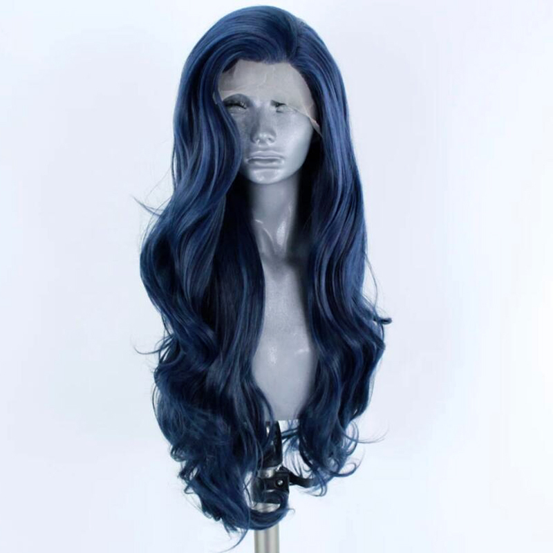 RONGDUOYI Middle Part Dark Blue Heat Resistant Fiber Hair Synthetic Lace Front Wig Long Body Wave Glueless Front Wigs For Women