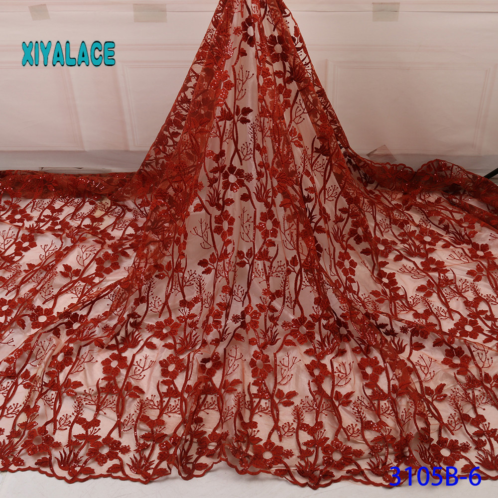 African Lace Fabric French Sequins Lace Fabric Women Wedding Dress 2019 High Quality Lace African Tulle Lace Fabric YA3105B-6