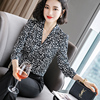 Lenshin Leopard Pattern Loose Shirt Breathable Soft V-neck Draped Blouse Women Female Wear Casual Style Office Lady Tops 6