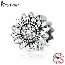 Bamoer słonecznik metalowe koraliki dla kobiet tworzenia biżuterii 925 srebro Charm fit oryginalna bransoletka wężowa lub bransoletka SCC1507