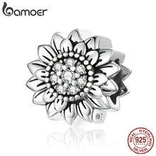 bamoer Sunflower Metal Beads for Women Jewelry Making 925 Sterling Silver Charm fit Original Snake Bracelet or Bangle SCC1507