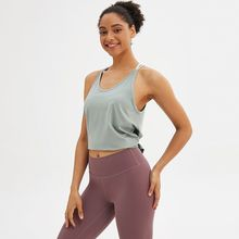 Yoga Sports Vest Women's Split Quick-Drying Blouse Running Fitness Loose Stylish Tops Exercise Garment Breathable Stretch