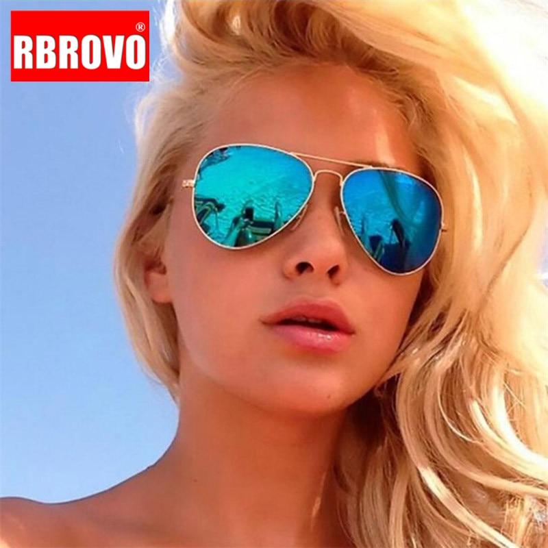 RBROVO 2019 Vintage Pilot Women Sunglasses Metal Glasses Street Beat Shopping Mirror Classic Oculos De Sol Gafas UV400