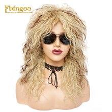 Ebingoo 70s 80s disko cadılar bayramı Rocker peruk uzun sapıkça kıvırcık altın sarışın kahverengi sentetik peruk kadın kefal rol oynamak parti