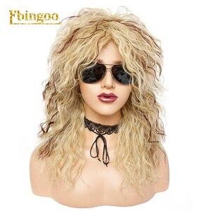 Image 1 - Ebingoo Peluca de pelo sintético para mujer, postizo de estilo Disco Hallween Rocker de 70s y 80s, Largo rizado, rizado dorado, Rubio, marrón, para fiesta de juegos de rol