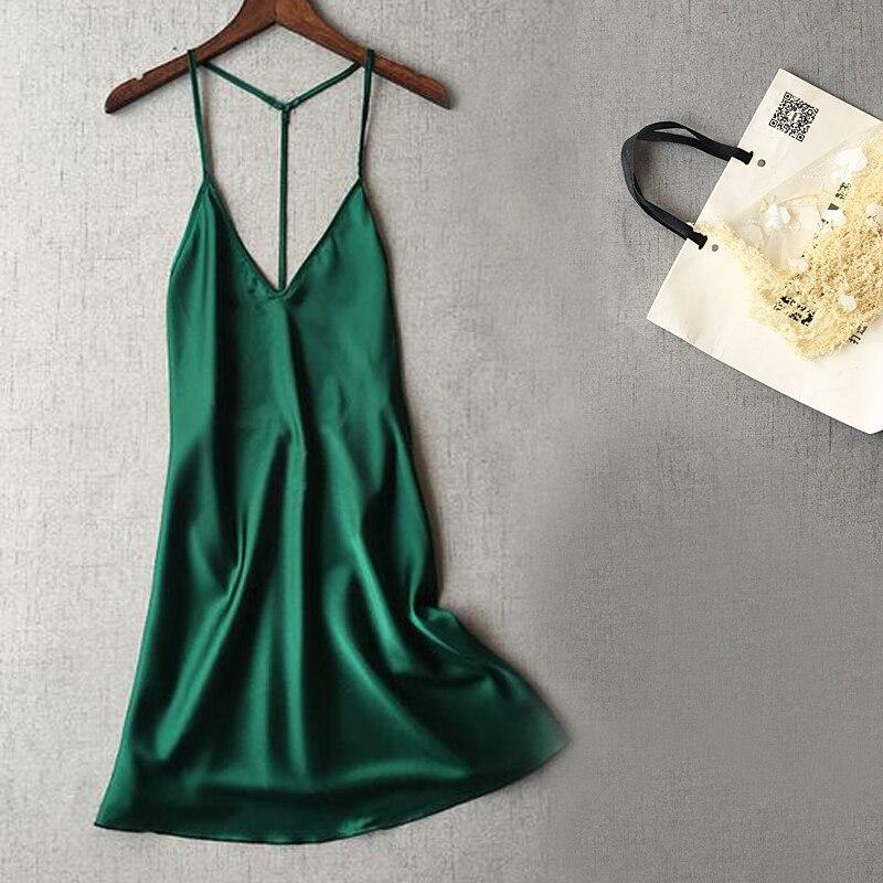 New Women Sexy Saked Sack Satin Nightgowns Dress Nightwear Sleepwear Night Shirt Female Silk Sleep Lounge