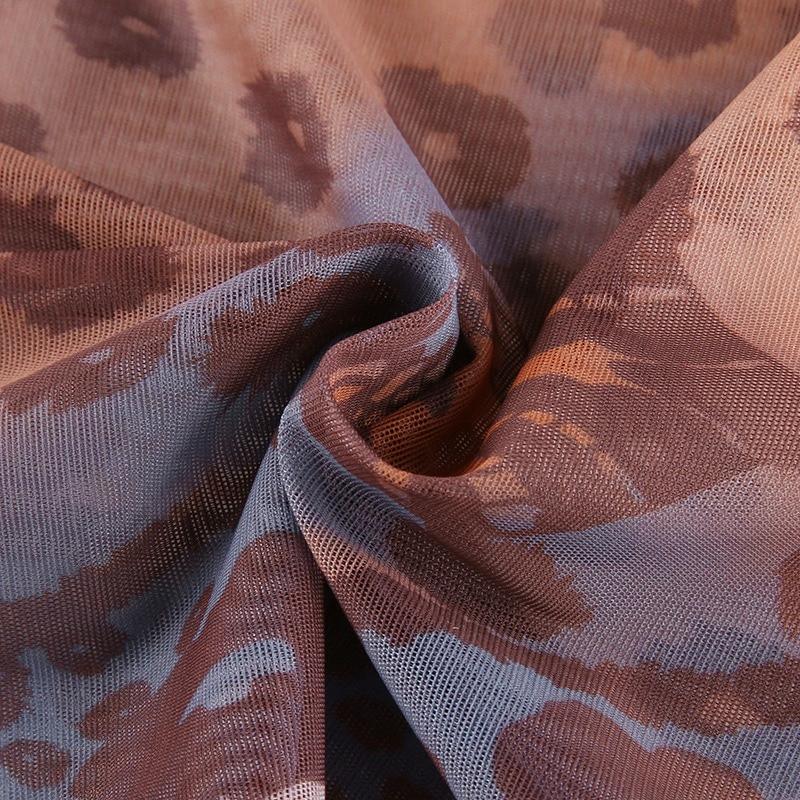 Retro Pattern Mesh Tshirt Slim o-neck Flare Sleeve Crop Top Women Fashion