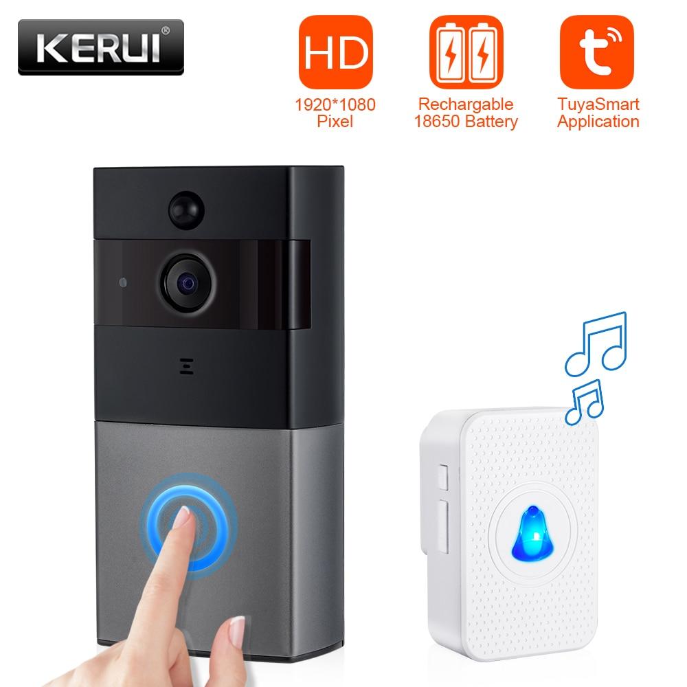 KERUI WIFI Intercom Doorbell HD1080P Tuya App Home Security Camera Doorbell Built-in Battery With Two-Way Audio Video Playback