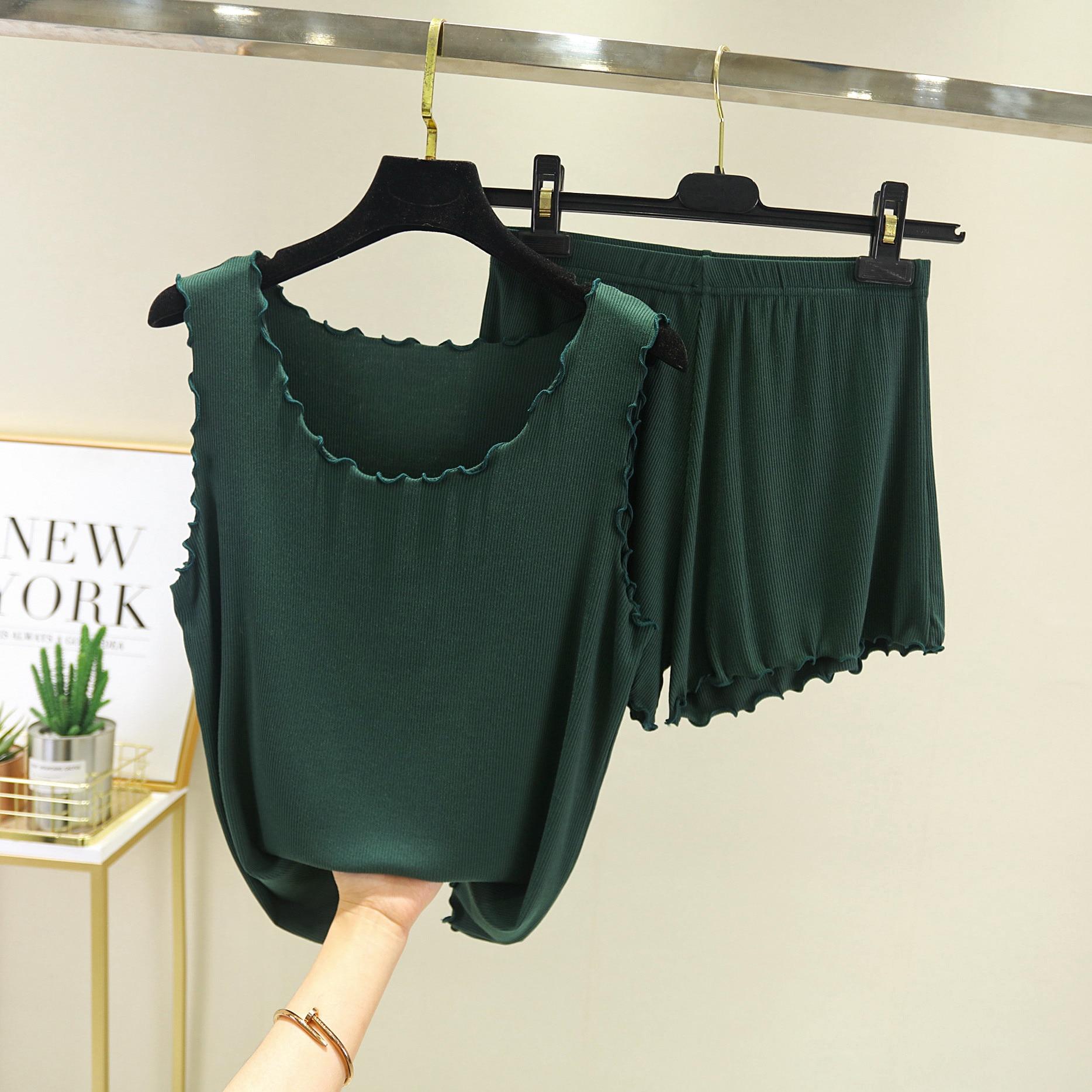 Tank Top+ Shorts Summer Pajiamas 2 Piece Set Casual Homewear Suit For Women Summer Pajamas Set Female Modal Atoff Home Cloth