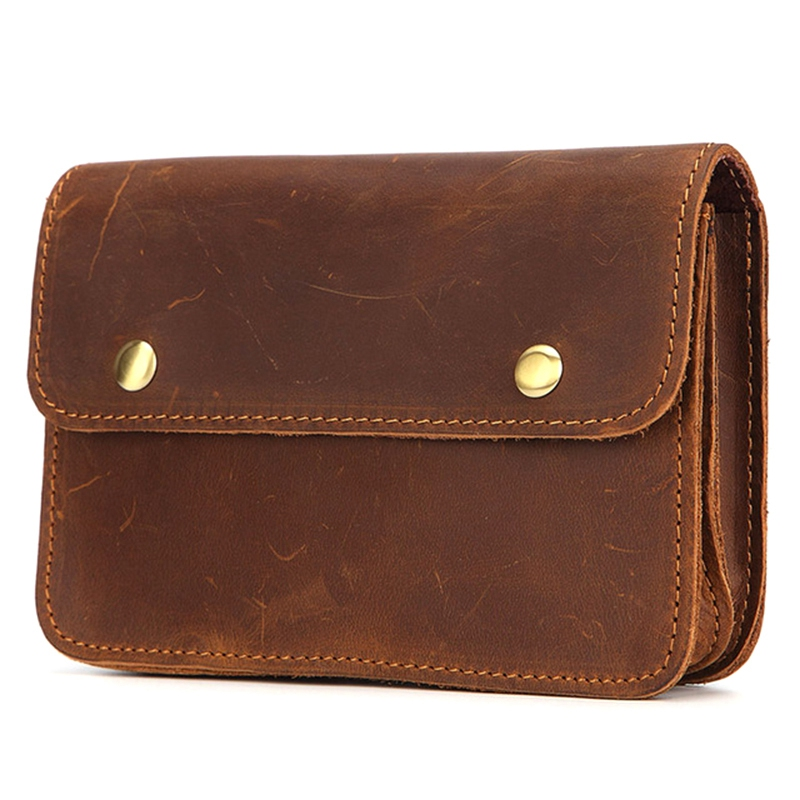 Vintage Crazy Horse Leather Fanny Waist Pack Men Genuine Leather Travel Belt Waist Bags Male Small Phone Pouch Loop Hip Bum Bag