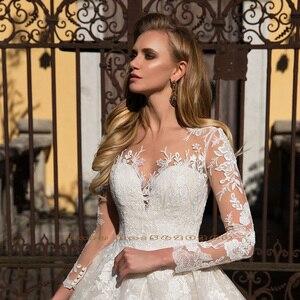Image 3 - 長袖アップリケレース a ラインのウェディングドレス vestido ブランコボタン床の長さの王女のウェディングドレス血