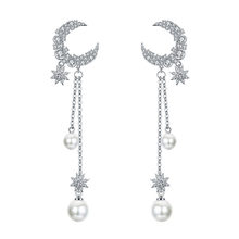 elegant imitation pearl Moon Star Long Tassel ear nail exquisite Prevent Allergy EarringFashion Personality Pendant High Quality(China)