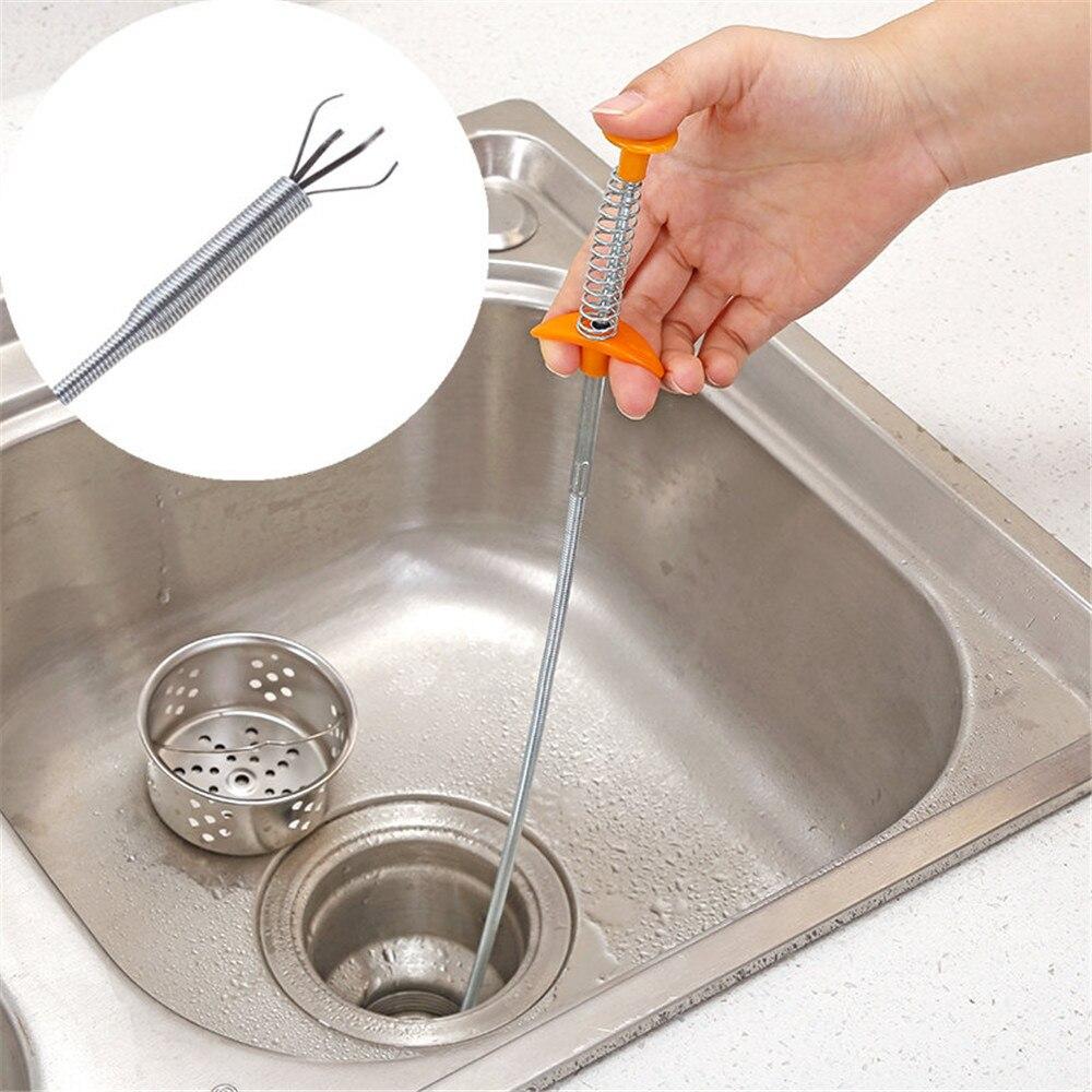 Fio de metal escova mão cozinha pia limpeza gancho dispositivo de dragagem de esgoto mola tubo de cabelo ferramenta de dragagem fio de metal escova 80cm #15