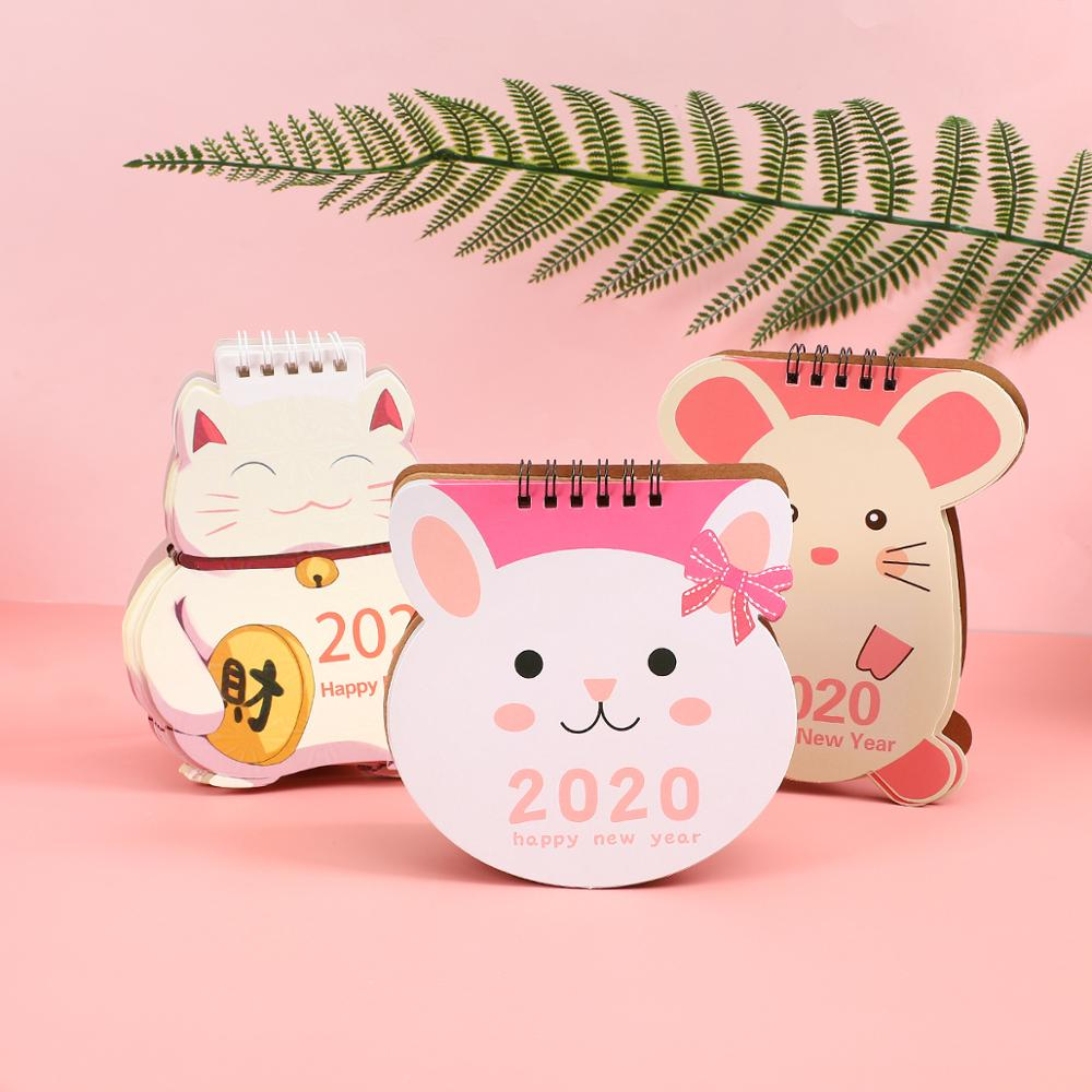 1PC 2019 2020 Cute Cartoon Unicorn Pig Series Mini Coil Table Calendars Cute Desk Calendar Planner Agenda School Supplies