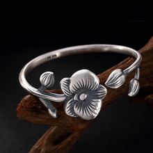 925 Sterling Silver Flower Bracelet Blooming Rich Phalaenopsis Simple Trendy Pure Opening Ladys