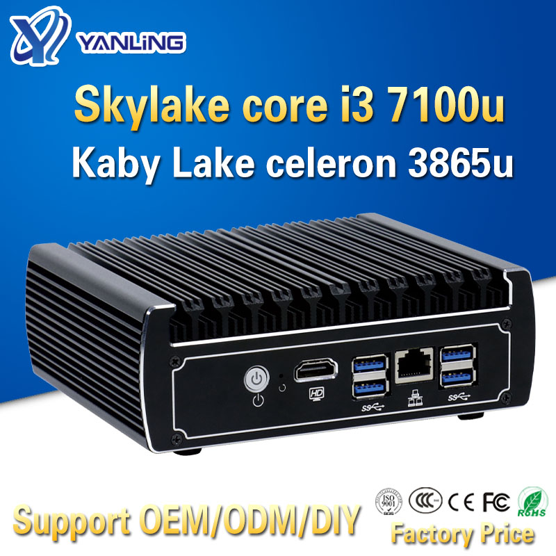 Yanling Pfsense Fanless Mini Pc X86 Core I3 7100u Celeron 3865u 6*Intel Lans DDR4 Linux Firewall Router DHCP VPN Network Server