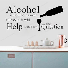 Adult Wine Quotation Wall Sticker vinyl  kitchen wall decal home decor removable wall art mural HJ921