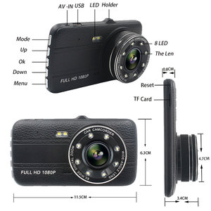 "Image 2 - 4.0""Dash Cam New Dual Lens Car DVR Camera Full HD 1080P  Front+Rear Camera Video Registrars G Sensor Night Vision Dash Cam"