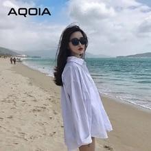 Aqoia streetwear manga longa chiffon plus size preto branco camisa feminina botão acima das blusas das senhoras soltas 2020 camisas compridas femininas