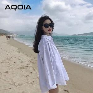 AQOIA Streetwear Long Sleeve Chiffon Plus Size Black White Women Shirt Button Up Loose Ladies Blouses 2020 Female Long Shirts