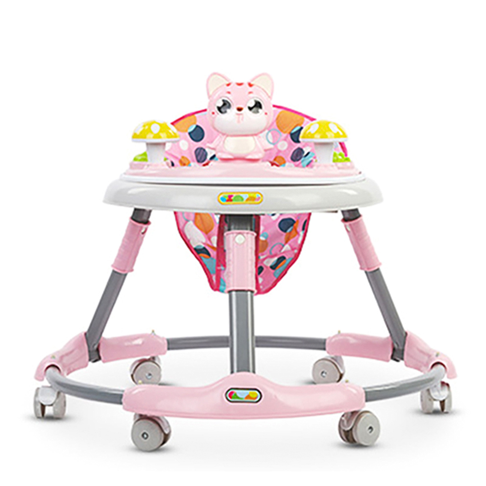 Cute Cat Baby Walker With Wheel Toddler Walk Learning Anti Rollover Foldable Wheel Walker Multi-Functional Seat Balance Car