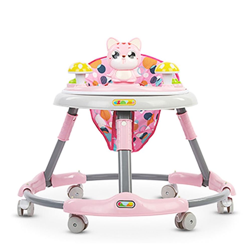 Cute Cat Baby Walker With Wheel Toddler Walk Learning Anti Rollover Foldable Wheel Walker Multi-Functional Seat Balance Car