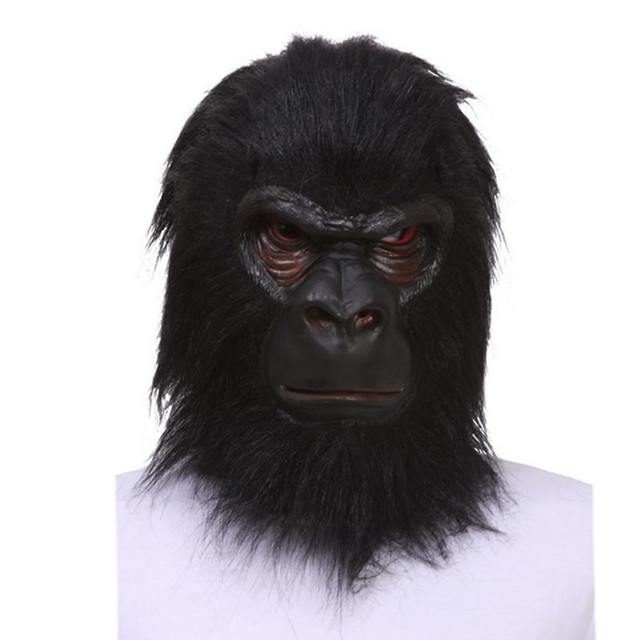 Halloween Latex Black Gorilla Mask Adult Full Face Funny Animal Mask Latex Halloween Party Cosplay Costume