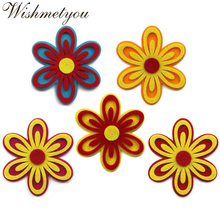 WISHMETYOU 5Pcs Colorful Hollow Flowers Non-woven Felts Diy Kids Room Free Cutting Felting Decor Kindergarten Sticker Crafts New