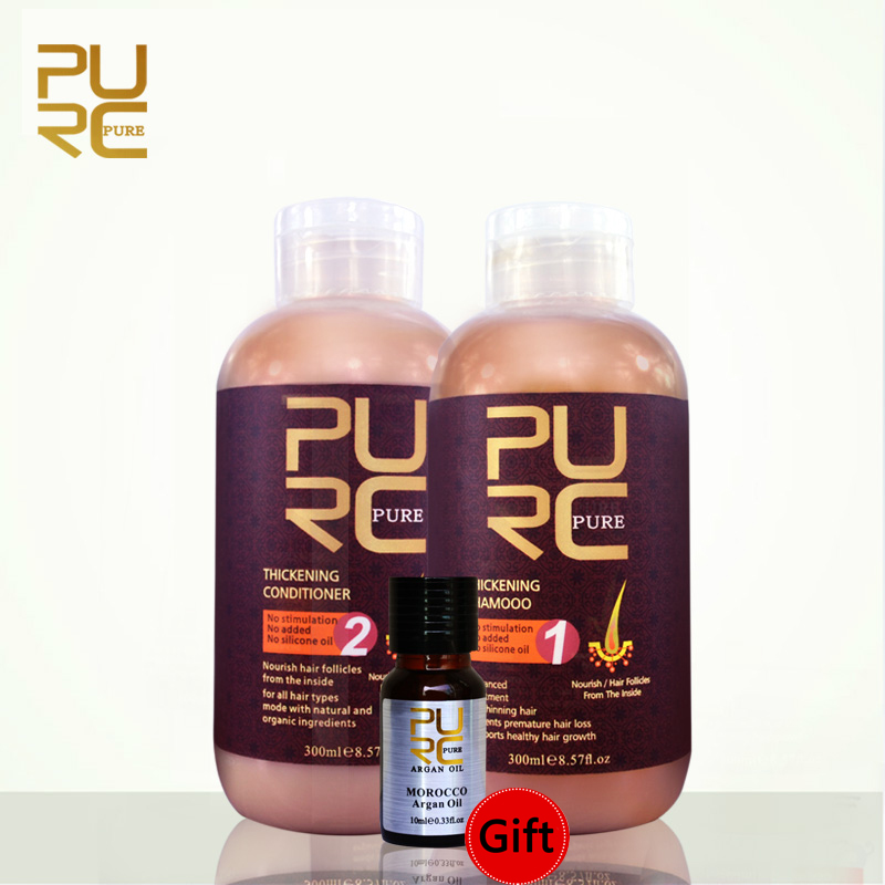 PURC Hair Shampoo And Conditioner Set Hair Growth Prevent Hairs Loss Premature Thinning Unisex With Hairs Care Argan Oil Gift image