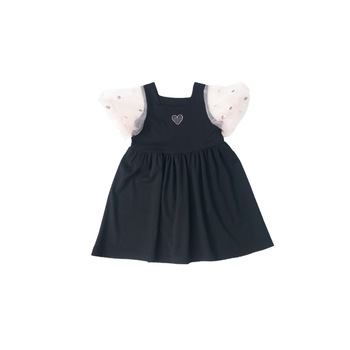 Summer Dresses Toddler Girl Black Skirt Cotton Short Lace sleeve Dresses Casual O-neck Dress With Heart-marking Chest for 1T-7T