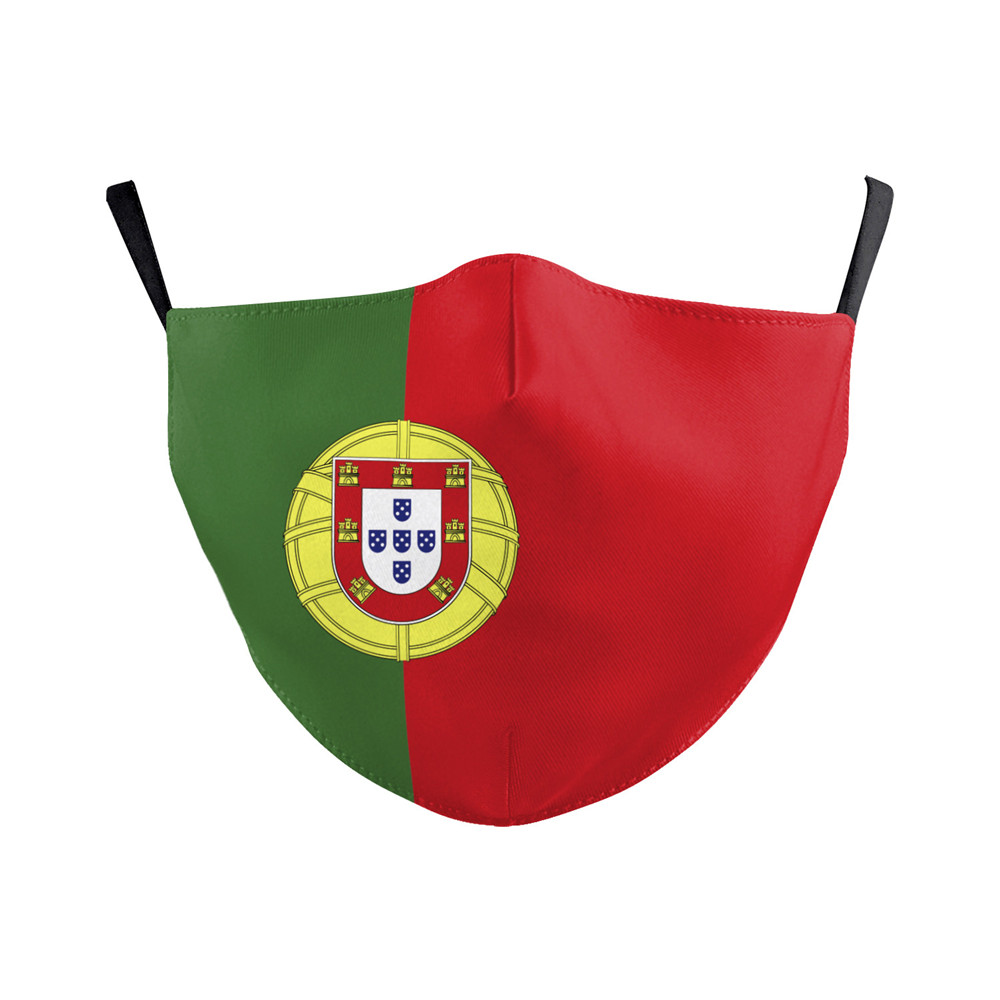 Mouth Face Portugal Flag Print Washable Face Mask Protective PM2.5 Filter Flag Print Reusable Fabric Mask Adult Adjustable