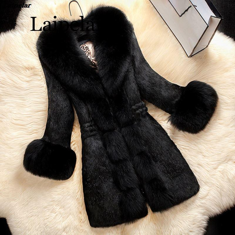 Laipelar Women Winter Coat Faux Fur Thick Warm OL Elegant Black Long Outwear Solid 2020 Fashion Chic Female Overcoat For Girl