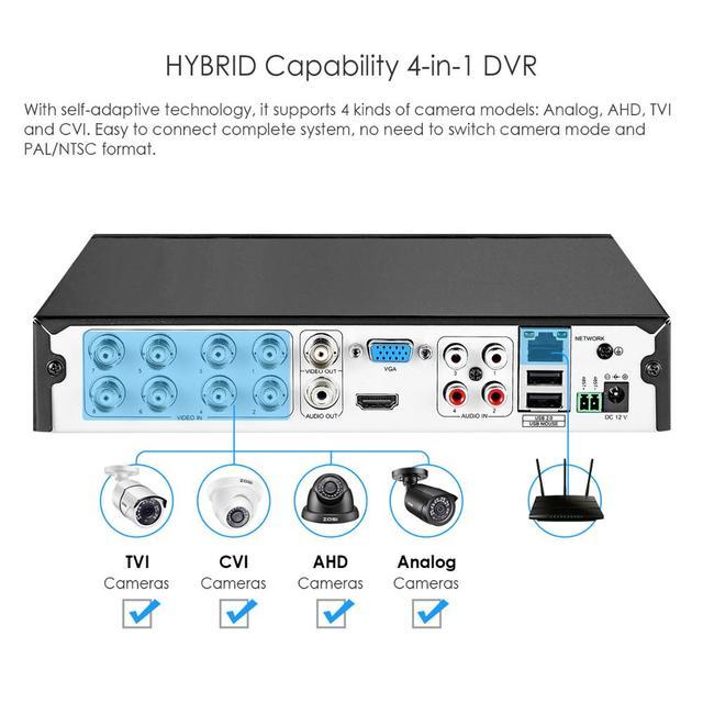 ZOSI-ensemble système de vidéosurveillance 8CH   1080N AHD TVI DVR, 8 pièces 1280TVL, système de caméra de sécurité dextérieur IR, videcam, Kit de vidéosurveillance DVR