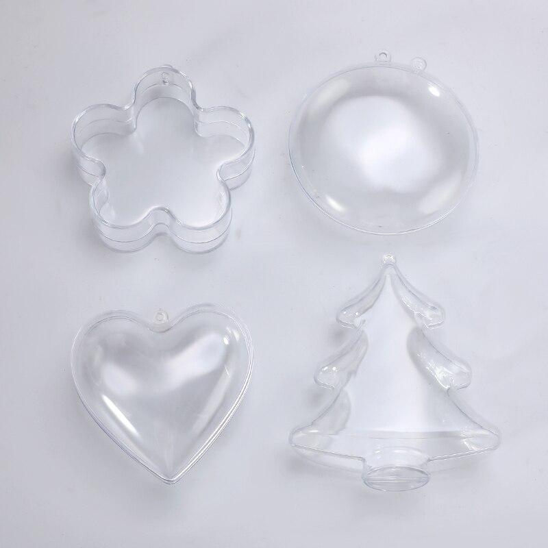 4 Type Clear Plastic 3D Bath Bomb Mold Heart Flower Shape Bath Bomb Mold DIY Christmas Xmas Trees Decoritions Bath Accessories