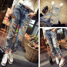 Jeans Pants Patches Loose Trousers Blue Plus-Size Summer Women 4XL Casual Hole Ankle-Length