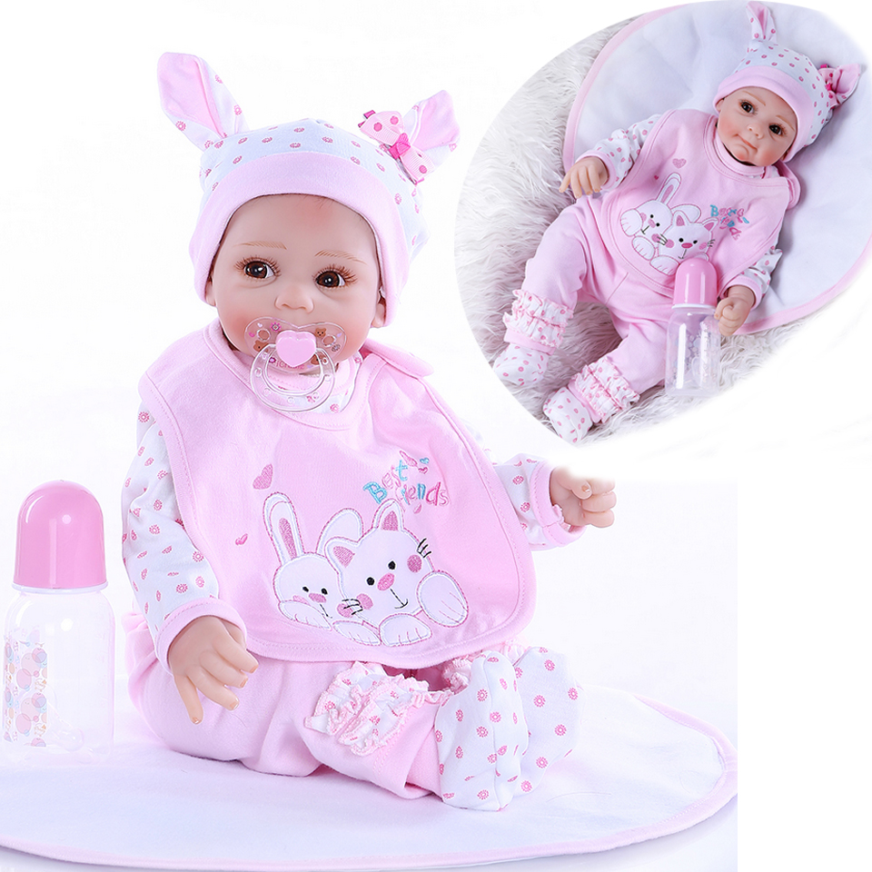 Newest 21inch 52CM Newborn Girl Lifelike Bebe Doll Reborn Baby Realistic Soft Touch Cuddly Baby Hand Rooted Hair Best Gift