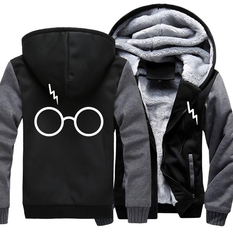 Brand US Size 5XL Men Harri Hoodies Print Potter Sunglass Winter Zipper Fleece Coat Clothing Jacket Thicken Sweatshirts