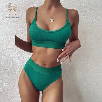 Peachtan-bikini Bandeau de cintura alta para mujer, traje de baño acanalado para...