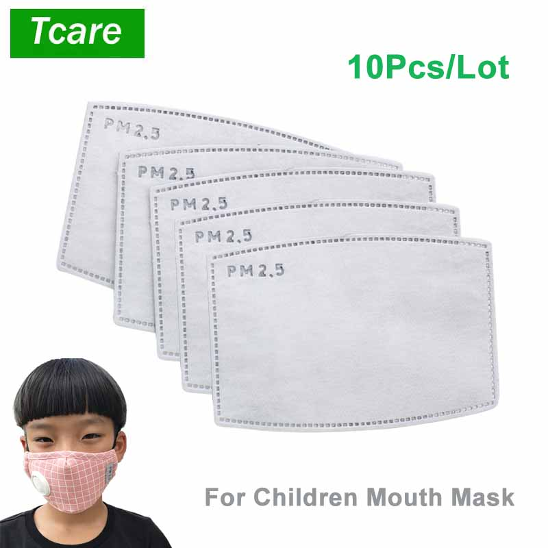 10Pcs/Set PM2.5 Anti Haze Mouth Mask Replaceable Filter-slice 5 Layers Non-woven Child Kids Activated Carbon Filter (4.7*3inch)