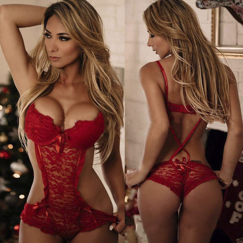 Red Christmas conjoined sexy lingerie sexy women's lace lingerie sexy erotic women's sex underwear set