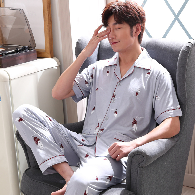 Pajamas Men Summer Knitted Cotton Short Sleeve Men Trousers Tracksuit Summer Thin Cotton Large Size Set 3873