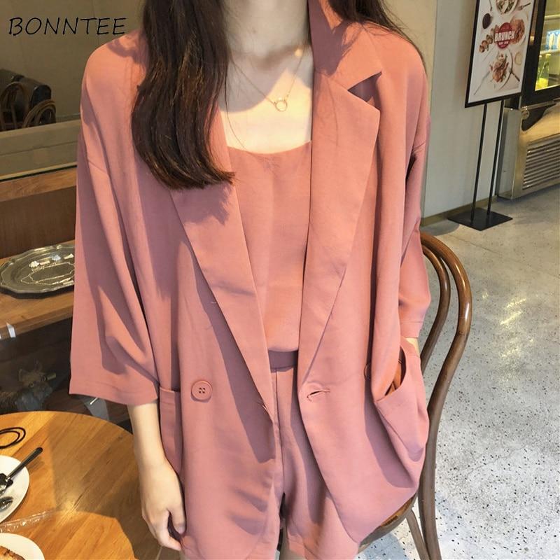 Blazers Women Thin Smooth Single Button Notched Slim Simple All-match Solid Kawaii Korean Style Blazer Womens Elegant Lady Coat