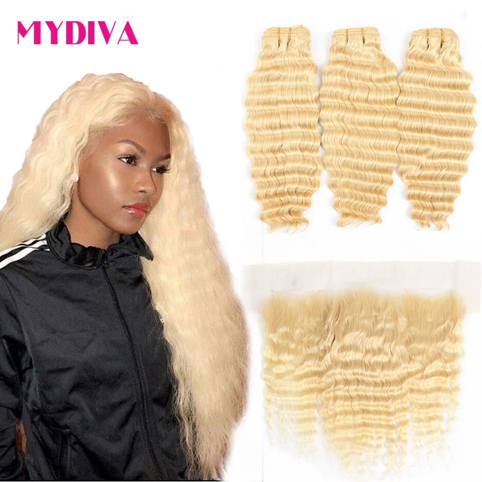 613 Blonde Bundles With Frontal Peruvian Deep Wave With Frontal Remy Blonde Human Hair Lace Frontal Closure With Bundle 30 Inch