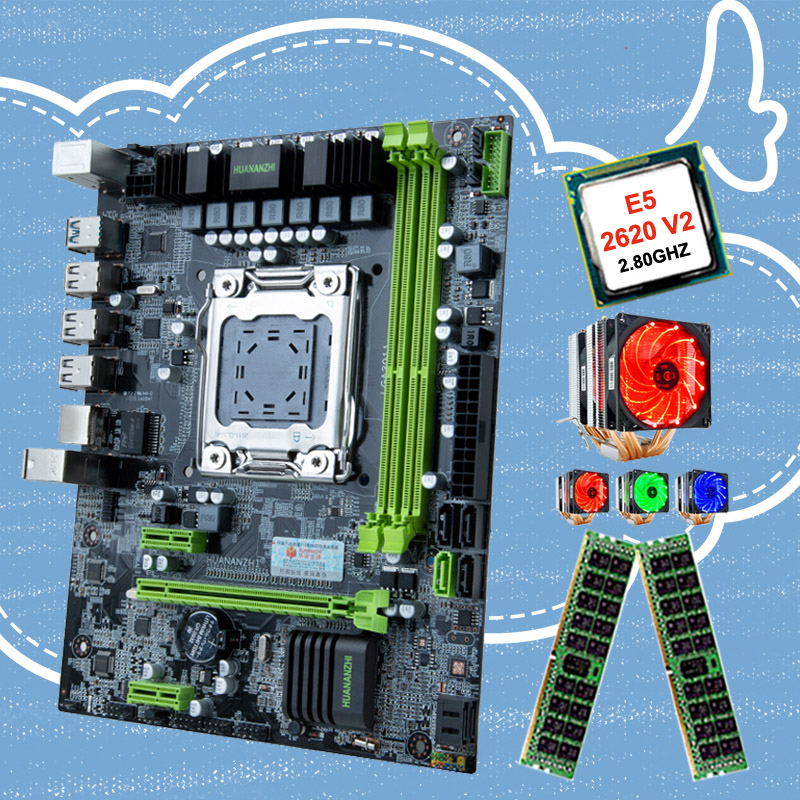 HUANANZHI X79 LGA2011 motherboard bundle CPU Intel Xeon <font><b>E5</b></font> <font><b>2620</b></font> <font><b>V2</b></font> 2.1GHz with 6 heatpipes cooler RAM 32G(2*16G) REG ECC discount motherboard combo for desktop image
