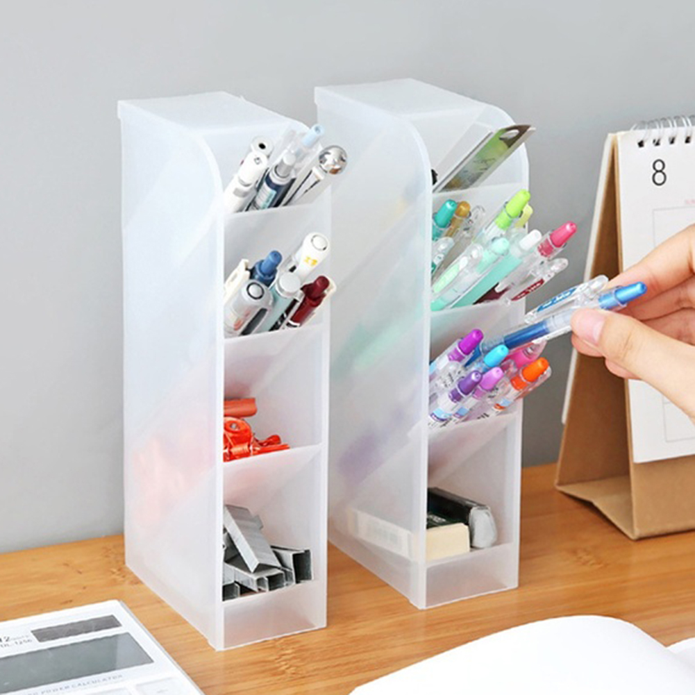 4 Grid Desktop Pen Holder Pencil Makeup Brush Cosmetic Storage Organizer Box Storage Container Large Capacity Home Office Storag