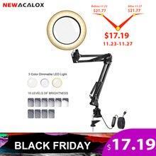 NEWACALOX loupe éclairée 3 couleurs 5x USB, loupe LED, pour réparations au fer à souder, lampe de Table, soin de la peau et outil beauté