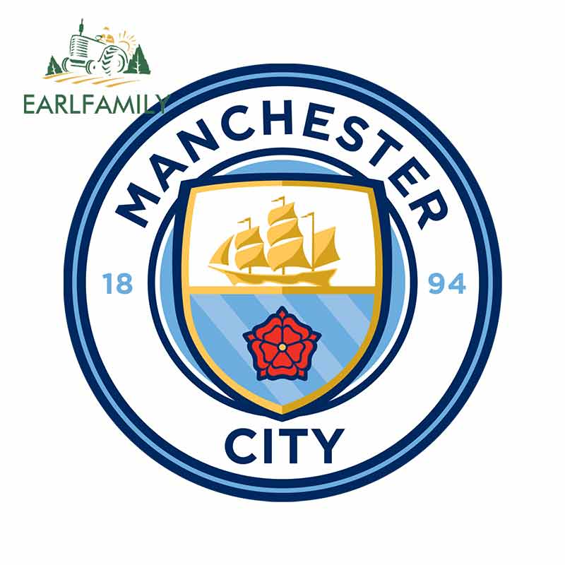 EARLFAMILY 13cm X 13cm For Manchester City Motorcycle Stickers Vinyl Car Sticker Anime Decals For VAN RV DIY Occlusion Scratch