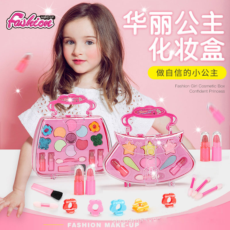 Girl Pretend Play Toy Set Beauty Makeup Cosmetic Bag Handbag Kids Play House Makeup Gift Set For 3 4 5 6 7 8 Years Old Girls