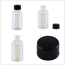 1 шт 50 мл Пробники круглые стеклянные бутылки реагента пластиковые черные винтовые крышки винт на крышку выпускной